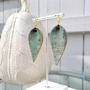 Olive Coloured Cork Earrings