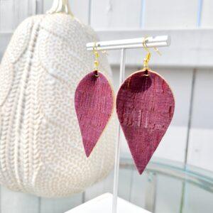 Cork Earrings in Merlot